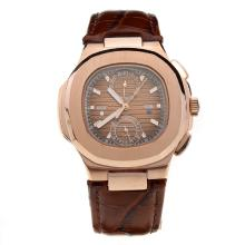 Patek Philippe Nautilus Rose Gold Case with Brown Dial-Leather Strap