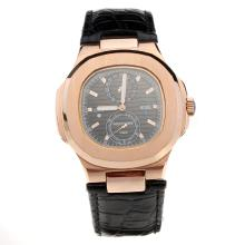 Patek Philippe Nautilus Rose Gold Case with Black Dial-Leather Strap