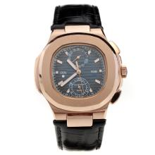 Patek Philippe Nautilus Rose Gold Case with Blue Dial-Leather Strap
