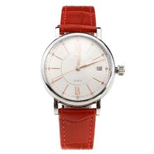 IWC Portofino White Dial with Red Leather Strap-Lady Size