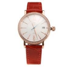 IWC Portofino Rose Gold Case Diamond Bezel White Dial with Red Leather Strap-Lady Size