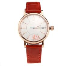 IWC Portofino Rose Gold Case White Dial with Red Leather Strap-Lady Size