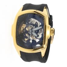 Corum Automatic Gold Case with Skeleton Dial-Rubber Strap-2