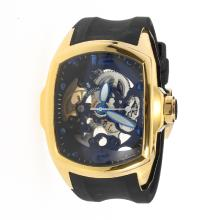 Corum Automatic Gold Case with Skeleton Dial-Rubber Strap-1