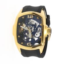 Corum Automatic Gold Case with Skeleton Dial-Rubber Strap