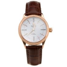 Rolex Cellini Rose Gold Case White Dial with Brown Leather Strap-Lady Size