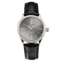 Rolex Cellini Black Dial with Black Leather Strap-Lady Size