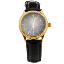 Rolex Cellini Gold Case Black Dial with Black Leather Strap-Lady Size-1