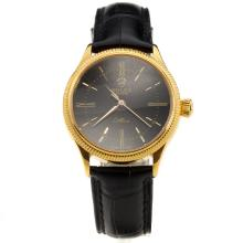 Rolex Cellini Gold Case Black Dial with Black Leather Strap-Lady Size