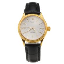 Rolex Cellini Gold Case White Dial with Black Leather Strap-Lady Size