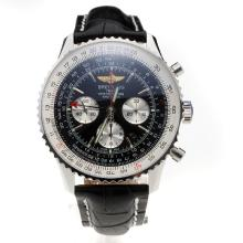 Breitling Navitimer Working GMT Chronograph Asia 7751 Movement with Black Dial-Leather Strap
