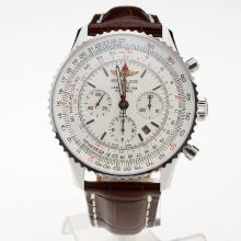Breitling Navitimer Working GMT Chronograph Asia 7751 Movement with White Dial-Leather Strap
