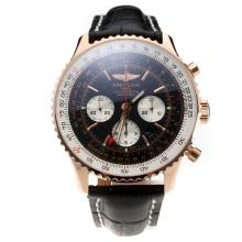 Breitling Navitimer Working GMT Chronograph Asia 7751 Movement Rose Gold Case with Black Dial-Leather Strap