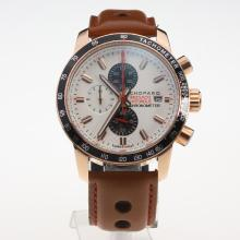 Chopard Grand Prix De Monaco Historique Working Chronograph Rose Gold Case with White Dial-Leather Strap-3