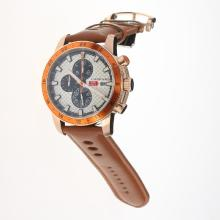 Chopard Miglia Working Chronograph Rose Gold Case with White Dial-Leather Strap