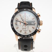 Chopard Grand Prix De Monaco Historique Working Chronograph Rose Gold Case with White Dial-Leather Strap