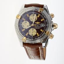 Breitling Chronomat Evolution Chronograph Swiss Valjoux 7750 Movement Two Tone Case Stick Markers with Brown Dial-Leather Strap