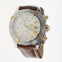Breitling Chronomat Evolution Chronograph Swiss Valjoux 7750 Movement Two Tone Case Roman Markers with White Dial-Leather Strap