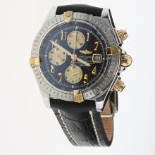 Breitling Chronomat Evolution Chronograph Swiss Valjoux 7750 Movement Two Tone Case Number Markers with Black Dial-Leather Strap