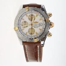 Breitling Chronomat Evolution Chronograph Swiss Valjoux 7750 Movement Two Tone Case Stick Markers with White Dial-Leather Strap