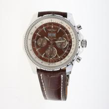Breitling Bentley 6.75 Big Date Chronograph Swiss Valjoux 7750 Movement with Brown Dial-Leather Strap