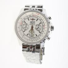 Breitling Bentley 6.75 Big Date Chronograph Swiss Valjoux 7750 Movement with White Dial S/S