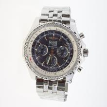 Breitling Bentley 6.75 Big Date Chronograph Swiss Valjoux 7750 Movement with Blue Dial S/S