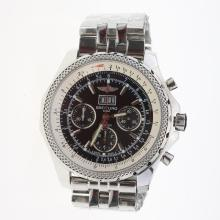Breitling Bentley 6.75 Big Date Chronograph Swiss Valjoux 7750 Movement with Black Dial S/S