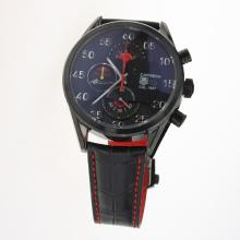Tag Heuer Carrera Cal.1887 Working Chronograph PVD Case with Black Dial-Leather Strap