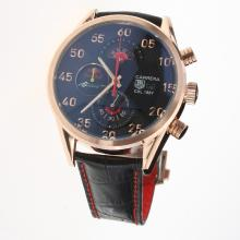 Tag Heuer Carrera Cal.1887 Working Chronograph Rose Gold Case with Black Dial-Leather Strap-2