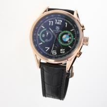 Tag Heuer Carrera BMW Power Working Chronograph Rose Gold Case with Black Dial-Leather Strap