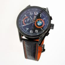 Tag Heuer Carrera BMW Power Working Chronograph PVD Case with Black Dial-Leather Strap