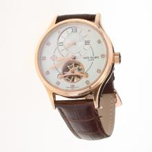 Patek Philippe Tourbillon Working Two Time Zone Automatic Rose Gold Case with White Dial-Leather Strap