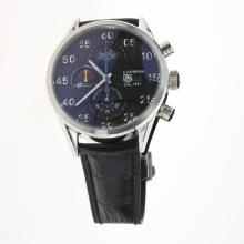 Tag Heuer Carrera Cal.1887 Working Chronograph with Black Dial-Leather Strap-1