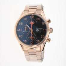 Tag Heuer Carrera Cal.1887 Working Chronograph Full Rose Gold with Black Dial