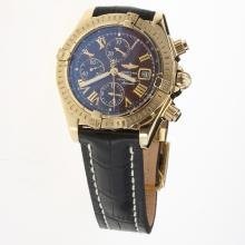 Breitling Chronomat Evolution Chronograph Swiss Valjoux 7750 Movement Gold Case Roman Markers with Brown Dial-Leather Strap