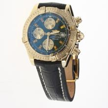 Breitling Chronomat Evolution Chronograph Swiss Valjoux 7750 Movement Gold Case Stick Markers with Blue Dial-Leather Strap-1