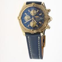 Breitling Chronomat Evolution Chronograph Swiss Valjoux 7750 Movement Gold Case Stick Markers with Blue Dial-Leather Strap
