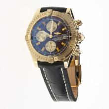 Breitling Chronomat Evolution Chronograph Swiss Valjoux 7750 Movement Gold Case Stick Markers with Brown Dial-Leather Strap