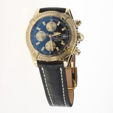 Breitling Chronomat Evolution Chronograph Swiss Valjoux 7750 Movement Gold Case Stick Markers with Black Dial-Leather Strap