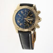 Breitling Chronomat Evolution Chronograph Swiss Valjoux 7750 Movement Gold Case Roman Markers with Black Dial-Leather Strap