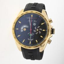 Tag Heuer Grand Carrera SLS Working Chronograph Gold Case with Black Dial-Rubber Strap