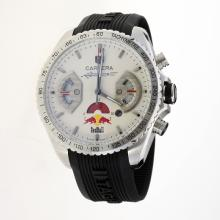 Tag Heuer Carrera RedBull Racing Edition Working Chronograph with White Dial-Rubber Strap