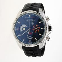 Tag Heuer Grand Carrera SLS Working Chronograph Blue Seconds-Hand with Black Dial-Rubber Strap