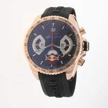 Tag Heuer Carrera RedBull Racing Edition Working Chronograph Rose Gold Case with Black Dial-Rubber Strap-1