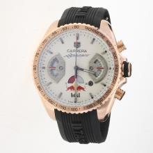 Tag Heuer Carrera RedBull Racing Edition Working Chronograph Rose Gold Case with White Dial-Rubber Strap