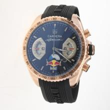 Tag Heuer Carrera RedBull Racing Edition Working Chronograph Rose Gold Case with Black Dial-Rubber Strap