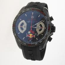 Tag Heuer Carrera RedBull Racing Edition Working Chronograph PVD Case with Black Dial-Rubber Strap-1