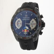 Tag Heuer Carrera RedBull Racing Edition Working Chronograph PVD Case with Black Dial-Rubber Strap