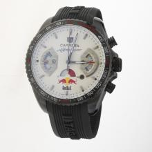 Tag Heuer Carrera RedBull Racing Edition Working Chronograph PVD Case with White Dial-Rubber Strap